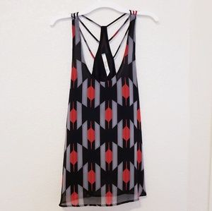 Red black and grey strappy geometric tank top